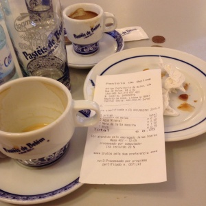 Pasties de Belem! Two coffee, two bottles of  water, two pastries =a bargain