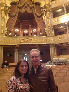 At the opera house. That's the President's box/viewing chamber behind us - it used to be for the king.