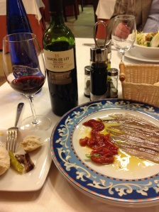 Wine from the Rioja region, and Cantabrian anchovies = I am content.
