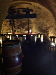 The caves underneath the restaurant. Wine is stored there, but it is also a wine bar at night.