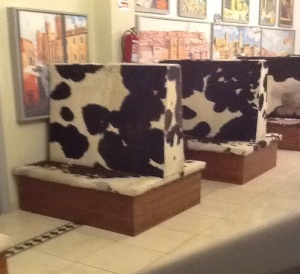 Really odd seating in the lounge area at the hotel