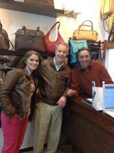 At the leather shop. I wish the photo with Carmen had come out. She was adorable and so kind.